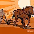 Farmer And Horse Plowing Farm Retro by Aloysius Patrimonio