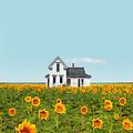 Farmhouse In A Field Of Sunflowers by Jill Battaglia