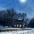Farmhouse Under Full Moon In Winter by Jill Battaglia