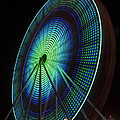 Ferris Wheel lit Shades of Green and Blue