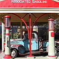 Filling Up The Old Ford Jalopy At The Associated Gasoline Station . Nostalgia . 7d12883 by Wingsdomain Art and Photography