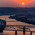 Fire In The Sky Over The Monongahela River by Dave Hahn