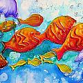 Fish Abstract Painting by Chris Hobel
