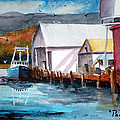 Fishing Boat And Dock Watercolor by Chriss Pagani