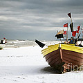 Fishing Boats At Snowy Beach by Agnieszka Kubica
