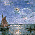 Fishing Boats By Moonlight by Alfred Wahlberg