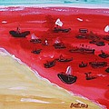 Fishing Boats On A Red Sea by Mary Carol Williams