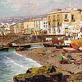 Fishing Boats On The Beach At Marinella Naples by Carlo Brancaccio