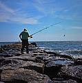Fishing Off Of The Jetty by Mikki Cucuzzo