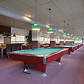 Five Pool Billiards Tables In A Row by Corepics