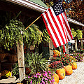 Flag Among The Pumpkins by Judith Lawhon