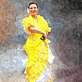 Flamenco Dancer In Yellow by Davandra Cribbie