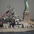 Fleet Week Vessels Pass By The Statue by Stocktrek Images
