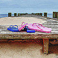 Flip Flops On The Dock by Michael Thomas