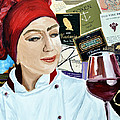 Flo Enjoys A Glass Of Wine by Michael Lee