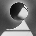 Floating Sphere On Light Triangle- Black And White Silver Gelati by Adam Long