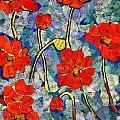 Floral Art - Red Poppies by Miriam  Schulman