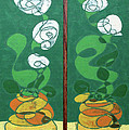 Floral Diptych In Green And Orange by John Gibbs