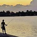 Florida Fishing At Sunset by Florene Welebny