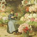 Flower Seller In Front Of The Madeleine Church by Victor Gabriel Gilbert