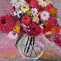 Flowers In A Glass Vase by Marilyn Woods