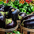 Food - Farm Fresh - Eggplant And Peppers by Paul Ward