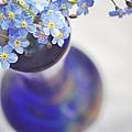 Forget Me Nots In Deep Blue Vase by Lyn Randle