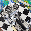 Forks On Checker Plate by Garry Gay