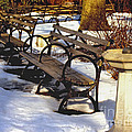 Fountain And Benches In Snow by Anne Ferguson
