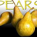 Four Pears With Yellow Lettering by Randall Nyhof