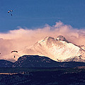 Four Skydivers With Longs Peak And Mount Meeker Rocky Mountain H by James BO Insogna