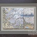 Framed Boston Harbor With Boston Light 6 Tile Set by P Anthony Visco