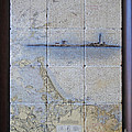 Framed Nautical Chart Of Hingham And Hull With Boston Light  by Creative Images on Tile