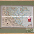Framed Plymouth Bay With Lighthouse Tile Set by P Anthony Visco