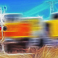 Freight Train At Railroad Crossing 2 by Steve Ohlsen