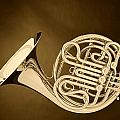 French Horn In Antique Sepia by M K Miller