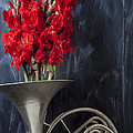 French Horn With Gladiolus by Garry Gay