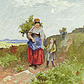 French Peasants On A Path by Daniel Ridgway Knight