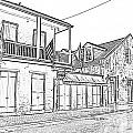 French Quarter Tavern Architecture New Orleans Black And White Photocopy Digital Art by Shawn O'Brien
