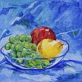 Fruit On Blue by Jan Bennicoff