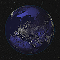 Full Earth At Night Showing City Lights by Stocktrek Images