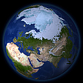 Full Earth Showing The Arctic Region by Stocktrek Images