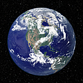 Fully Lit Earth Centered On North by Stocktrek Images