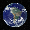Fully Lit Earth Centered On South by Stocktrek Images