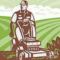 Gardener Landscaper Riding Lawn Mower Retro by Aloysius Patrimonio