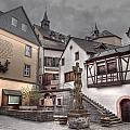 Gasthaus And Church-colour by Bill Lindsay