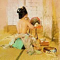 Geisha At Her Toilet by Pg Reproductions