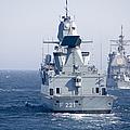 German Frigate Ffg Hessen And Uss by Stocktrek Images