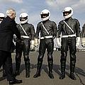 German Motorcycle Police Shake Hands by Stocktrek Images
