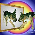 German Shepherd Puppy In Mirror by Smilin Eyes  Treasures